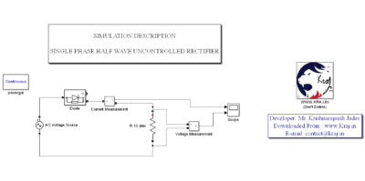 MATLAB – Single Phase Uncontrolled Half Wave Rectifier